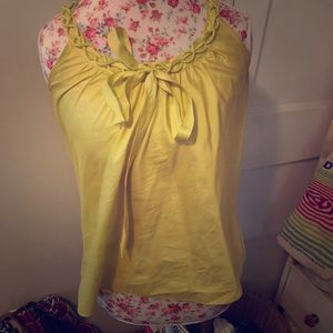 Jcrew neon blouse with neck detail & bow
